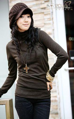 韩国SZ纯色针织衫 内搭单穿都时尚